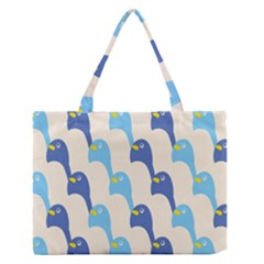 Animals Penguin Ice Blue White Cool Bird Medium Zipper Tote Bag by Mariart