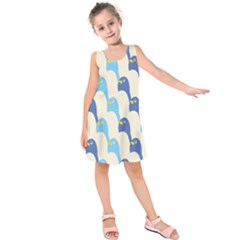 Animals Penguin Ice Blue White Cool Bird Kids  Sleeveless Dress by Mariart