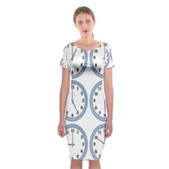 Alarm Clock Hour Circle Classic Short Sleeve Midi Dress by Mariart