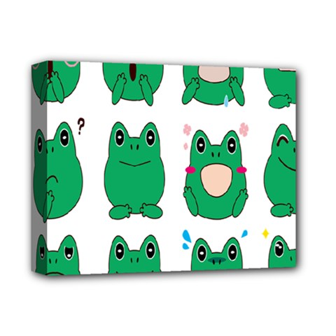 Animals Frog Green Face Mask Smile Cry Cute Deluxe Canvas 14  X 11  by Mariart