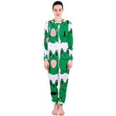 Animals Frog Green Face Mask Smile Cry Cute Onepiece Jumpsuit (ladies)
