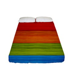 Wooden Plate Color Purple Red Orange Green Blue Fitted Sheet (full/ Double Size) by Mariart