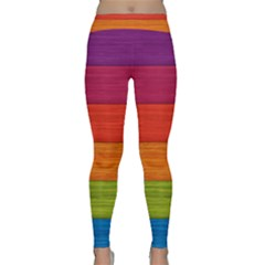 Wooden Plate Color Purple Red Orange Green Blue Classic Yoga Leggings by Mariart