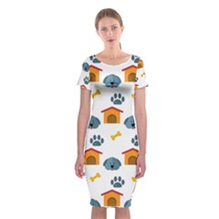 Bone House Face Dog Classic Short Sleeve Midi Dress by Mariart