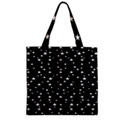 Black Star Space Zipper Grocery Tote Bag by Mariart