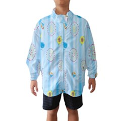Animals Whale Sunflower Ship Flower Floral Sea Beach Blue Fish Wind Breaker (kids) by Mariart