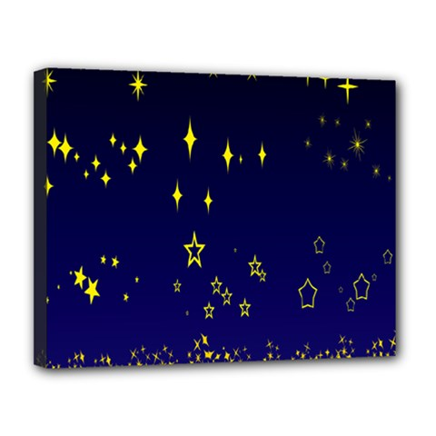 Blue Star Space Galaxy Light Night Canvas 14  X 11  by Mariart