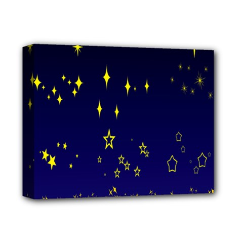 Blue Star Space Galaxy Light Night Deluxe Canvas 14  X 11  by Mariart