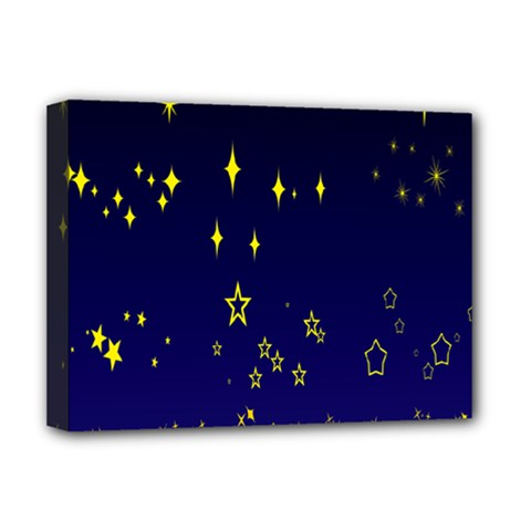 Blue Star Space Galaxy Light Night Deluxe Canvas 16  X 12   by Mariart