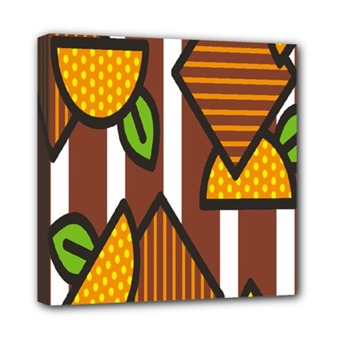 Chocolate Lime Brown Circle Line Plaid Polka Dot Orange Green White Mini Canvas 8  X 8  by Mariart
