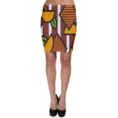 Chocolate Lime Brown Circle Line Plaid Polka Dot Orange Green White Bodycon Skirt