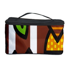 Chocolate Lime Brown Circle Line Plaid Polka Dot Orange Green White Cosmetic Storage Case by Mariart