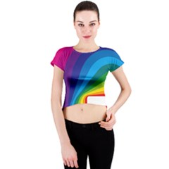 Circle Rainbow Color Hole Rasta Waves Crew Neck Crop Top by Mariart