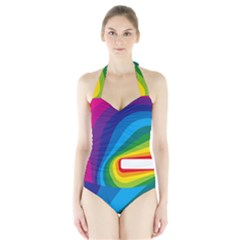 Circle Rainbow Color Hole Rasta Waves Halter Swimsuit by Mariart