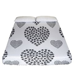 Black Paw Hearts Love Animals Fitted Sheet (king Size) by Mariart