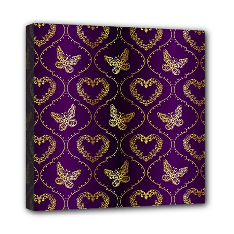 Flower Butterfly Gold Purple Heart Love Mini Canvas 8  X 8  by Mariart