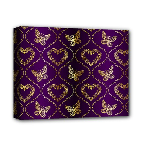 Flower Butterfly Gold Purple Heart Love Deluxe Canvas 14  X 11  by Mariart