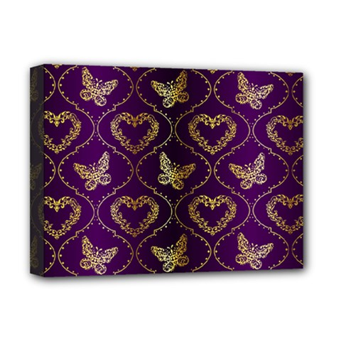 Flower Butterfly Gold Purple Heart Love Deluxe Canvas 16  X 12   by Mariart