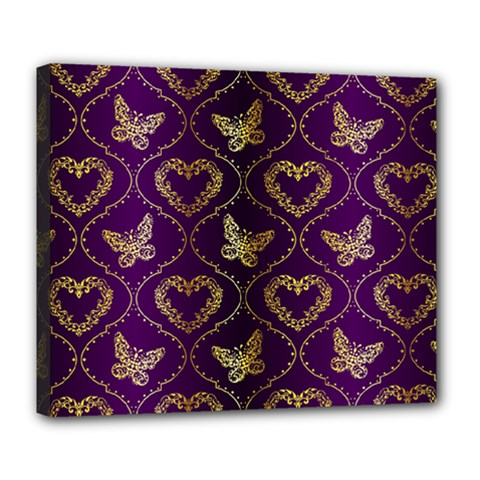 Flower Butterfly Gold Purple Heart Love Deluxe Canvas 24  X 20   by Mariart