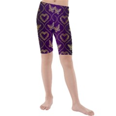 Flower Butterfly Gold Purple Heart Love Kids  Mid Length Swim Shorts by Mariart