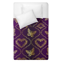 Flower Butterfly Gold Purple Heart Love Duvet Cover Double Side (single Size) by Mariart