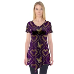 Flower Butterfly Gold Purple Heart Love Short Sleeve Tunic  by Mariart