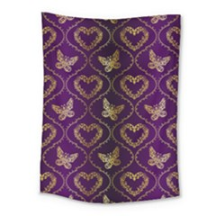 Flower Butterfly Gold Purple Heart Love Medium Tapestry by Mariart
