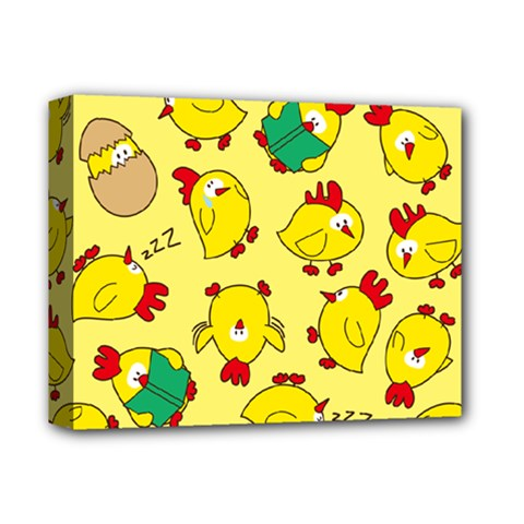 Animals Yellow Chicken Chicks Worm Green Deluxe Canvas 14  X 11  by Mariart