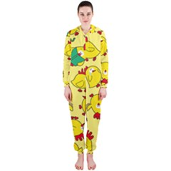Animals Yellow Chicken Chicks Worm Green Hooded Jumpsuit (ladies)  by Mariart