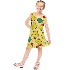 Animals Yellow Chicken Chicks Worm Green Kids  Tunic Dress by Mariart