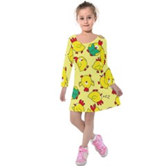 Animals Yellow Chicken Chicks Worm Green Kids  Long Sleeve Velvet Dress by Mariart