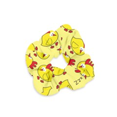 Animals Yellow Chicken Chicks Worm Green Velvet Scrunchie by Mariart
