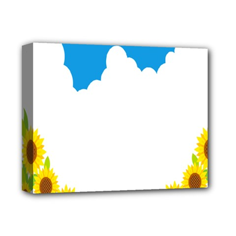 Cloud Blue Sky Sunflower Yellow Green White Deluxe Canvas 14  X 11  by Mariart