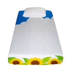 Cloud Blue Sky Sunflower Yellow Green White Fitted Sheet (single Size) by Mariart