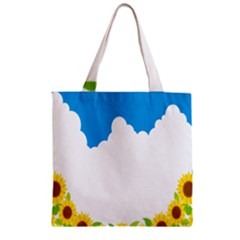 Cloud Blue Sky Sunflower Yellow Green White Zipper Grocery Tote Bag by Mariart