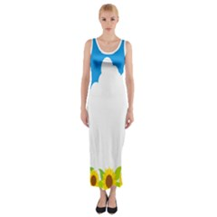 Cloud Blue Sky Sunflower Yellow Green White Fitted Maxi Dress by Mariart