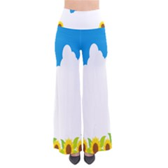 Cloud Blue Sky Sunflower Yellow Green White Pants by Mariart