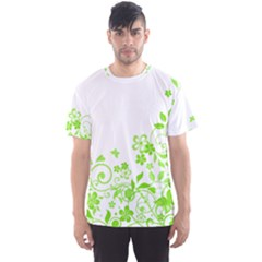 Butterfly Green Flower Floral Leaf Animals Men s Sport Mesh Tee by Mariart