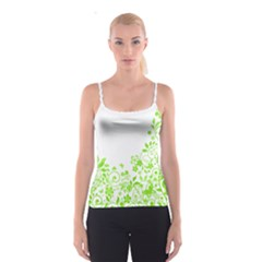 Butterfly Green Flower Floral Leaf Animals Spaghetti Strap Top