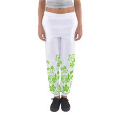 Butterfly Green Flower Floral Leaf Animals Women s Jogger Sweatpants by Mariart