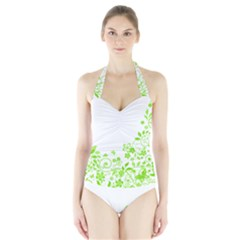 Butterfly Green Flower Floral Leaf Animals Halter Swimsuit by Mariart