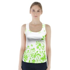 Butterfly Green Flower Floral Leaf Animals Racer Back Sports Top by Mariart