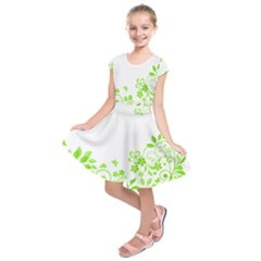 Butterfly Green Flower Floral Leaf Animals Kids  Short Sleeve Dress