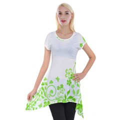 Butterfly Green Flower Floral Leaf Animals Short Sleeve Side Drop Tunic by Mariart
