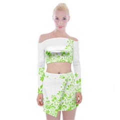 Butterfly Green Flower Floral Leaf Animals Off Shoulder Top With Skirt Set by Mariart