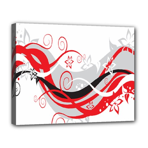 Flower Floral Star Red Wave Canvas 14  X 11  by Mariart