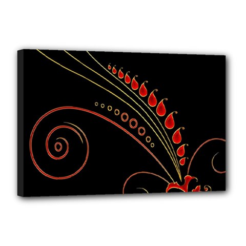 Flower Leaf Red Black Canvas 18  X 12  by Mariart