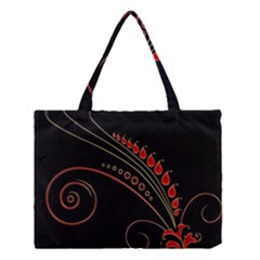 Flower Leaf Red Black Medium Tote Bag by Mariart