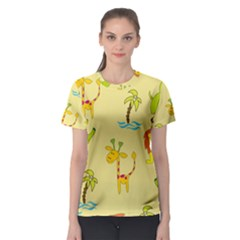 Cute Animals Elephant Giraffe Lion Women s Sport Mesh Tee by Mariart
