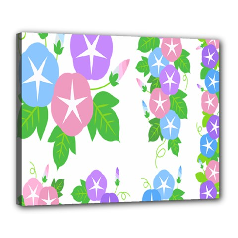 Flower Floral Star Purple Pink Blue Leaf Canvas 20  X 16  by Mariart